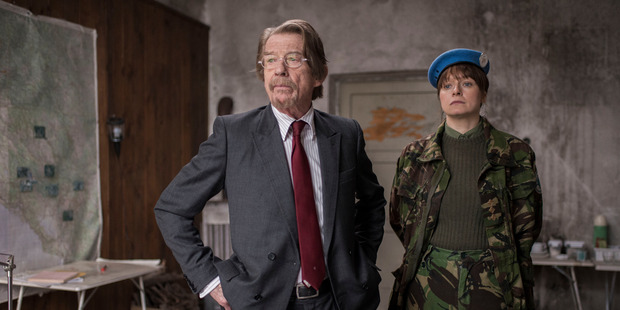 Samantha Morton as Naomi in scenes — with John Hurt as her boss Tom — from The Last Panthers.