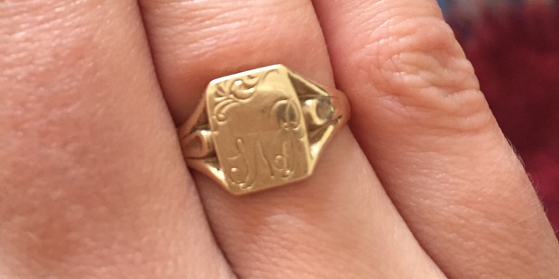 A gold signet ring given by Sarah de Pont to her daughter Jackie. Photo / Supplied