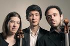 ONES TO WATCH: The Calvino Trio are, from left, Sini Simonen [violin], Jun Bouterey-Ishido [piano], and Alexandre Foster [cello].