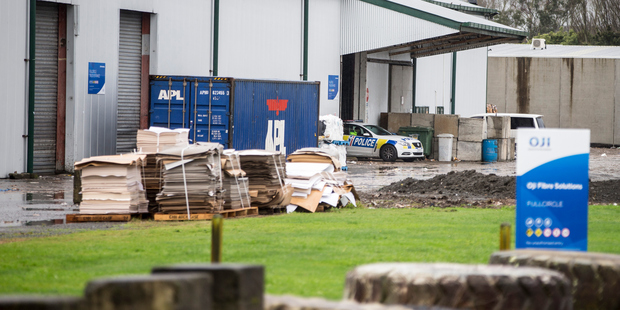 Loading Police at the premises of OJI Fibre Solutions in Hamilton after the discovery of Daniel Binder's body. Photo / Michael Craig