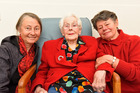 Joy Marbeck,  with her daughters Tessa Beswick and Christine Marbeck,  turns 101 today. Photo / George Novak