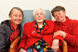 Joy Marbeck, with her daughters Tessa Beswick and Christine Marbeck, turns 101 today.