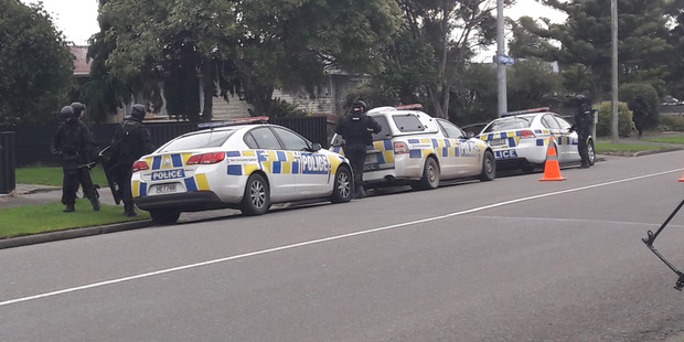 Police on the scene in the Cloverlea area of Palmerston North. Photo / Alecia Rousseau