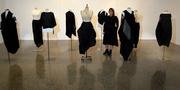 ESCAPOLOGY: Fashion designer Stephanie West with her exhibition collection at the Wanganui Community Art Gallery. PHOTO/STUART MUNRO