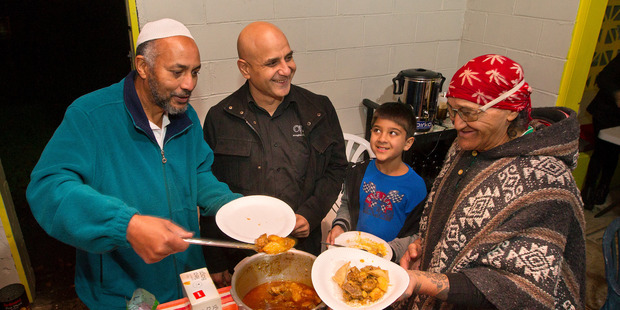 Loading From left, Mohabat Malak, Aladina Harunani, Ayaan Harunani and Hombre share dinner at Love Soup Rotorua. PHOTO/BEN FRASER