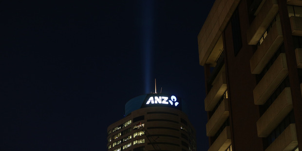The high-powered beam shoots skyward from the ANZ tower in central Auckland. Photo / Doug Sherring