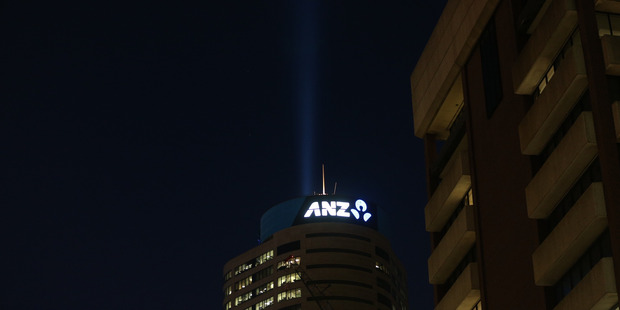 A light shines skyward from the ANZ tower in central Auckland. Photo / Doug Sherring