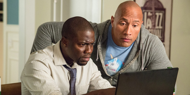 Kevin Hart and Dwayne Johnson in a scene from the movie Central Intelligence.