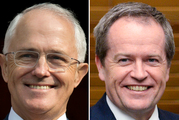 Australian Prime Minister Malcolm Turnbull, left, and Australian opposition leader Bill Shorten. First exit poll shows the result is too close to call. Photo / AP