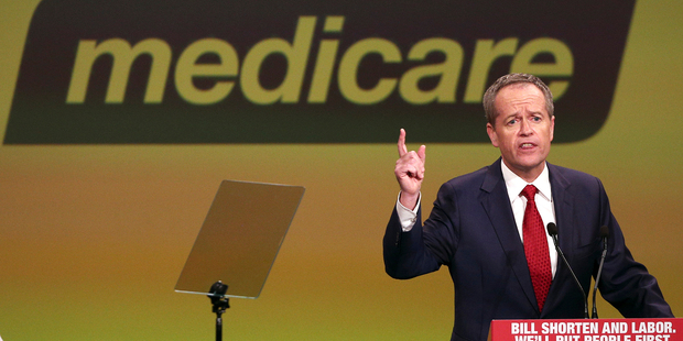Australia's opposition Labor Party leader Bill Shorten speaks about Medicare. Photo / AP