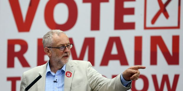 Britain's Labour Party leader Jeremy Corbyn has been criticised for a lacklustre performance for the 'Remain' campaign. Photo / AP