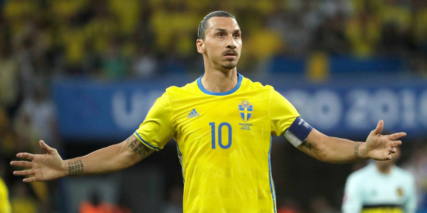 Sweden's Zlatan Ibrahimovic gestures during the Euro 2016 Group E soccer match between Sweden and Belgium at the Allianz Riviera stadium in Nice. Photo / AP.