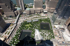 The tree-lined September 11 Memorial seen from an upper floor of 3 World Trade Center in New York. Photo / AP