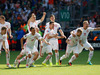 Poland's players celebrate after Poland's Grzegorz Krychowiak scored the decisive penalty, during the Euro 2016 round of 16 soccer match between Switzerland and Poland. Photo / AP.