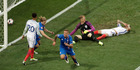 Iceland's Ragnar Sigurdsson, center, celebrates after scoring during the Euro 2016 round of 16 football match between England and Iceland. Photo / AP.