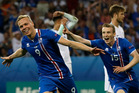 Iceland's Kolbeinn Sigthorsson celebrates after scoring his side's second goal during the Euro 2016 round of 16 soccer match between England and Iceland. Photo / AP.