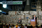 Donald Trump speaks about trade at Alumisource, a metals recycling facility in Monessen, Pa. Photo / AP