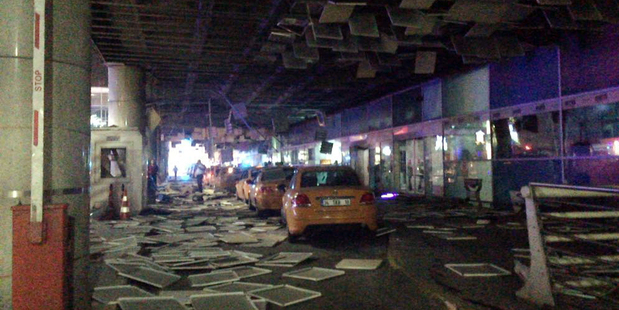 An entrance of the Ataturk Airport in Istanbul after explosions killing at least 10 people. Photo / DHA via AP