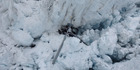 Wreckage of a Alpine Adventures Scenic Flights helicopter at Fox Glacier. Seven people died at the scene. Photo / Supplied