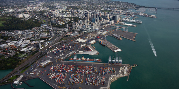 In the 2014-2015 year, Ports of Auckland handled 970,000 containers, three million tonnes of freight and 250,000 cars. Photo / New Zealand Herald
