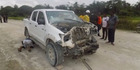 A truck ambushed by kidnappers in Calabar, Nigeria, in which a New Zealander and other mine workers were taken. Photo / Flux Connect