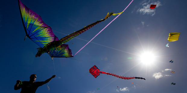 Kites in action during the Manu Aute Kite Day, for the Matariki festival, held at Takaparawha Reserve, Orakei Marae, Auckland, in 2014. Photo/File
