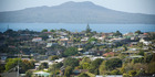 Houses in Browns Bay, on Auckland's North Shore looking towards Rangitoto Island. View of the water add around 48pc to the price tag on an Auckland home. Photo / Jason Dorday.