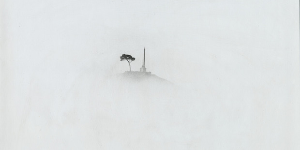 A glimpse of the lone pine atop One Tree Hill through morning mist in 1985.