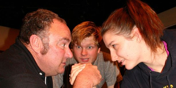 From left Owen Potter, Tom Wilson and Lucy Mavin go head to head in the upcoming play Kings of the Gym.