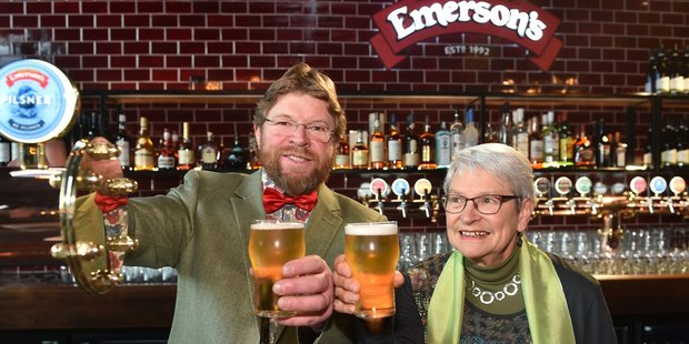 Richard Emerson (left) and his mother Ingrid Emerson during the opening of the new Emerson's Brewery Building on Anzac ave. Photo / Peter McIntosh