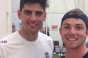 Henry Cooper poses with England captain Alastair Cook after their session ahead of the England-Sri Lanka test series.