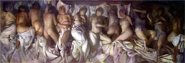 Kanye West tried to recreate Vincent Desiderio's painting, Sleep, in his music video.