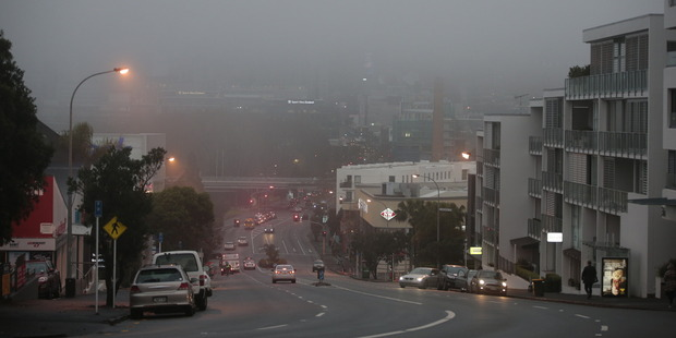 Loading Fog blankets Auckland this morning. Photo / Brett Phibbs