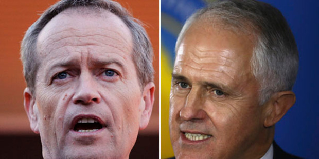 As voters turn out today, many on reluctant trips to polling booths, the key question will be: Who do they distrust the least? Bill Shorten or Malcolm Turnbull. Photo / Getty Images