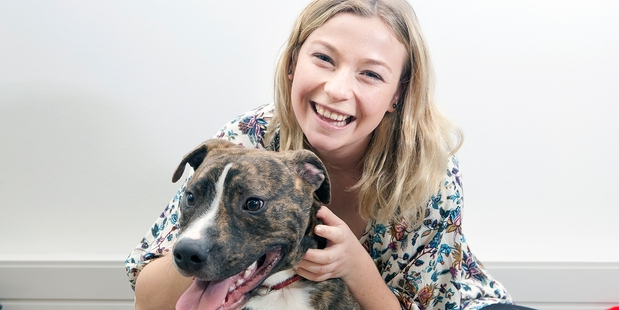 Loading RUFF DAY: Early childhood education student Hannah Eva with study puppy Rocky. PHOTO/ANDREW WARNER