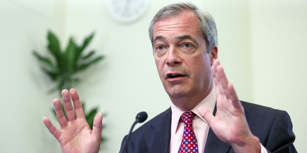 Nigel Farage, leader of the UK Independence Party. Photo / Bloomberg