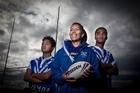 FINALS BOUND: Papamoa Bulldogs under-15 coach Joanna Wynyard with Ezra Petley (left) and Las Filo. PHOTO/ANDREW WARNER