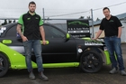 Sponsor Paul Anderson of Dannevirke Dairy Supplies (left) with Michael McLean and Andrew Brooks of A&A Auto Works, with McLean's car ready for a year of top class rallying. The car's plates 4UGoon are in memory of the late Hamish (Goon) Gore, father of three, who was killed in a motorbike accident last year. Photo / Christine McKay