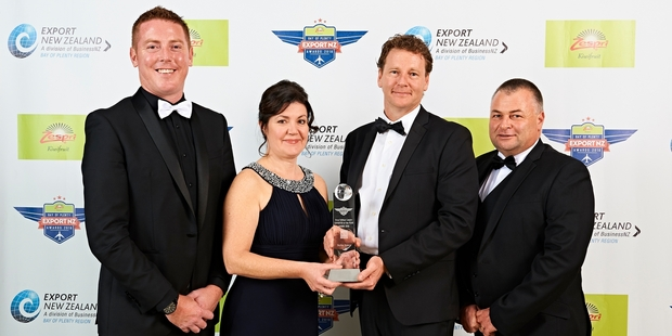 Skyline's team at the export awards. (From left) Dean Johnson, Alison Kirkland, Bruce Thomasen and Andrew Jensen. Photo / Wayne Tait Photography