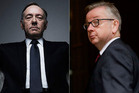 From left: Kevin Spacey as House of Cards villain Francis Underwood and Tory leader hopeful Michael Gove. Photos / Netflix / AP