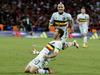 Belgium's Eden Hazard celebrates after scoring his side's third. Photo / AP