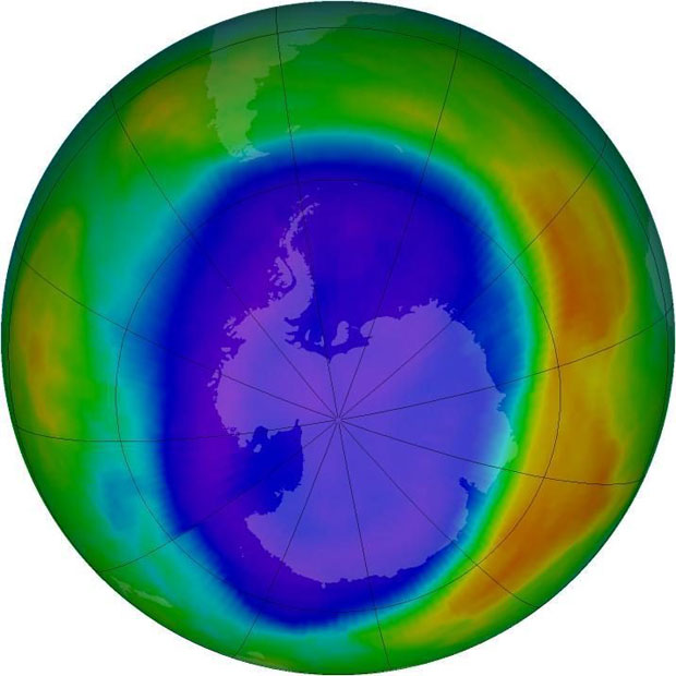 How the hole in the ozone layer looked in 2000 when it was at its peak. Photo / NASA