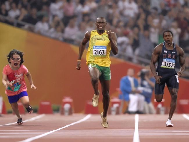 This one was first out of the blocks, running alongside Usain Bolt. Photo / chase447, imgur
