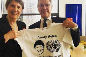 Helen Clark and Gerard van Bohemen posed with a #Helen4SG shirt. Photo / Facebook / Helen Clark