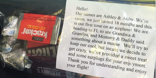 The note was later posted on Facebook by another passenger. Photo / Facebook, Love What Matters