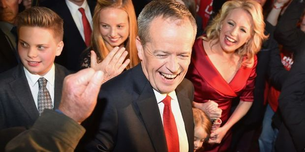 The leader of the Australian Labor Party Bill Shorten seems confident too. Photo / AFP
