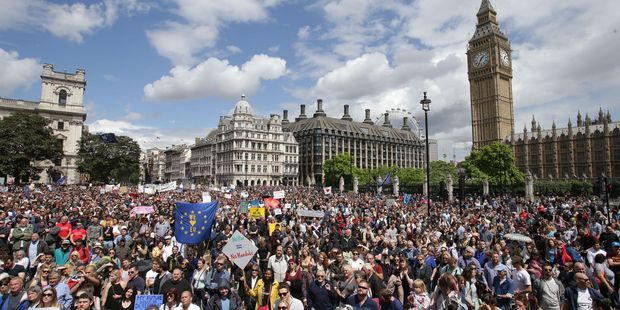 Remain supporters demonstrate in Parliament Square, London, to show their support for the European Union. Photo / AP