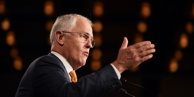 Australian Prime Minister Malcolm Turnbull during a rally in Sydney. Photo / AP
