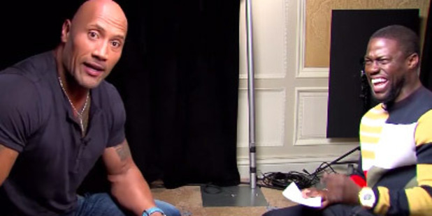 Watch Kevin Hart and The Rock lose their minds over their impersonations.
