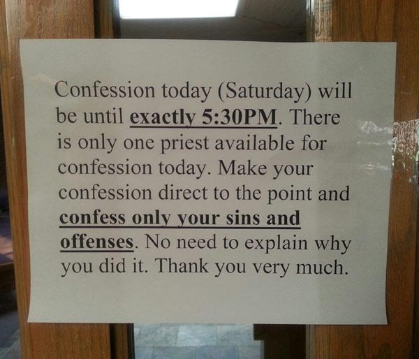 Confession etiquette.